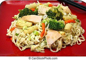 Chicken Stirfry - Plate of chicken stirfry with noodles and...