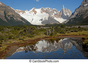 Mount Cerro Torre from way to lake Torre Los Glaciares...