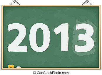 Big blackboard with number 2013, vector eps10 illustration
