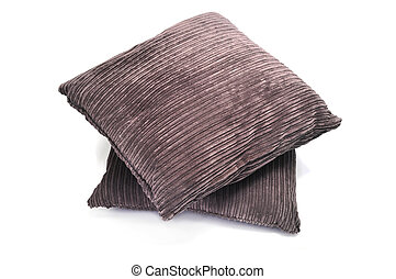 cushions - a pair of brown corduroy cushions on a white...
