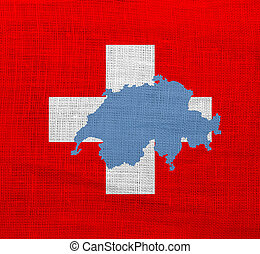 Flag and map of Switzerland on a sackcloth