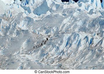Trekking  on a glacier Perito Moreno, Argentina