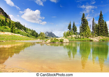 Amazing mountain lake with bright green color, gold sand and...