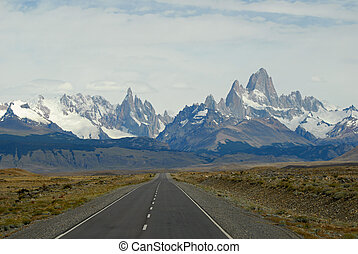 Mountaines Fitz Roy and Cerro Torre from road to Chalten...