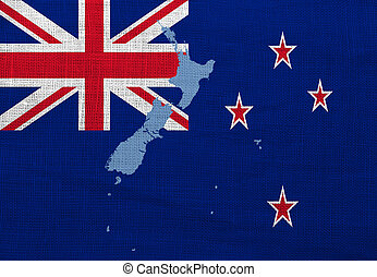 Flag and map of New Zealand on a sackcloth