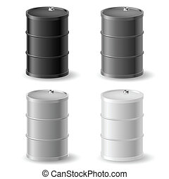 Oil barrels icon set - Oil barrels. Gray icons set on white