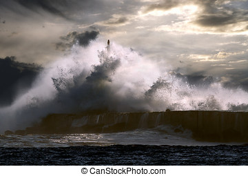 Lighthouse under storm - Big storm wave against lighthouse...