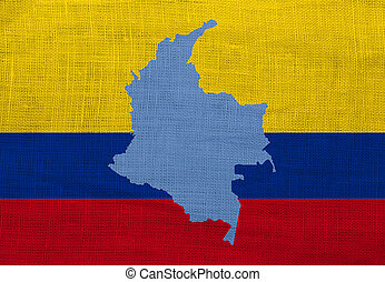 Flag and map of Colombia on a sackcloth