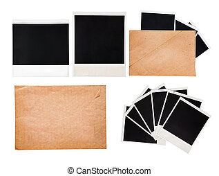 Old envelope with instant photos, set