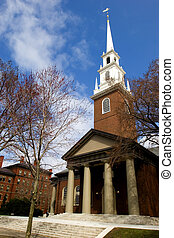 Memorial church - Harvard University campus in Cambridge,...