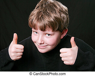 two thumbs up boy - young kid giving happy two thumbs up...