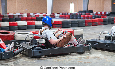 Indoor karting race (karts ready to start)