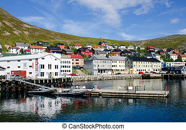 Honningsvag/ Honningsvåg city, Norway - City and harbor,...