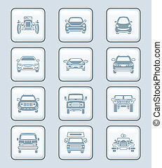 Cars front view icons | TECH series - Modern and vintage...