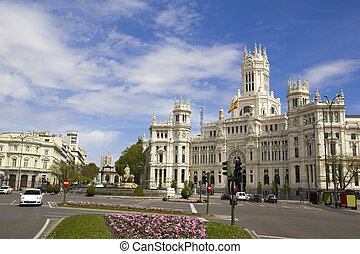 Plaza de Cibeles in Madrid, Spain. With Cibeles Fountain and...