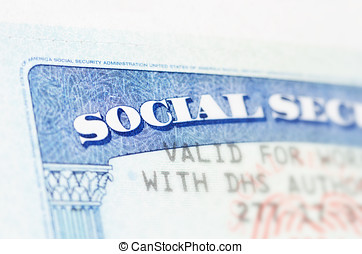 Social security - Blue social security card macro shot
