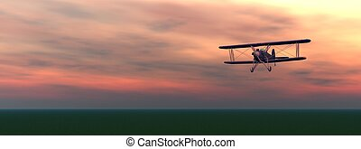 Biplan by sunset - Old biplan flyinig upon the ground by...