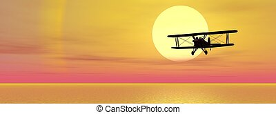 Biplan upon ocean - Old biplan flying upon ocean by sunset