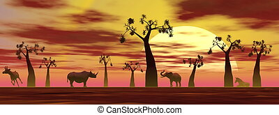 Savannah scenery by sunset - Shadows of animals in the...