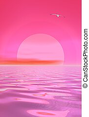 Sunset over ocean - Big pink sun shining while sunset over...