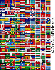 Flags of all World countries on a sackcloth background