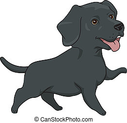 Labrador Retriever - Illustration Featuring a Cute and...
