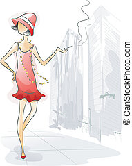 Smoker Girl - Watercolor Illustration Featuring a Woman...