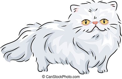 Persian Cat - Illustration of a Persian Cat Walking...