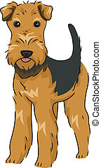 Airedale Terrier - Illustration Featuring a Cute and Playful...