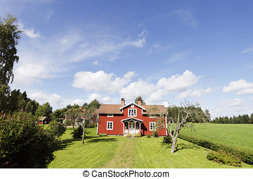 old red cottages and barns - red old cottages and barns,...