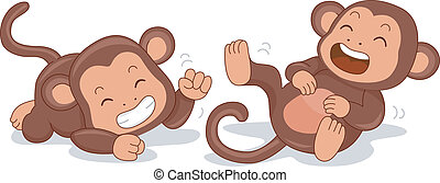 Laughing Monkeys - Illustration of Cute Little Monkeys...