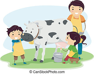 Milk Kids - Illustration of Kids Happily Milking a Cow