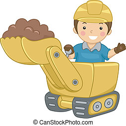 Bulldozer Kid - Illustration of a Smiling Kid Operating a...