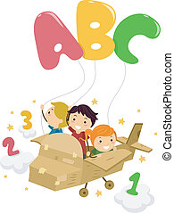Stickman Alphabet - Illustration Featuring Kids on a Plane...