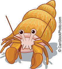 Hermit Crab - Illustration of a Golden Hermit Crab with its...