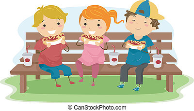 Hotdog Kids - Illustration of Kids Eating Hotdogs Together