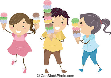 Ice Cream Kids - Illustration of Happy and Excited Kids...