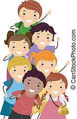 Students - Illustration Featuring Happy and Energetic Kids...