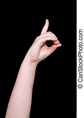 sign language letter d - the letter d in sign language on a...