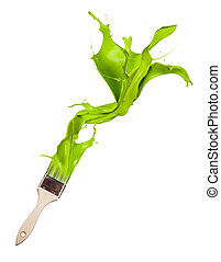 Green paint splashing out of brush. Isolated on white...