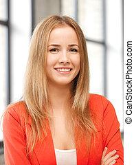 happy and smiling teenage girl - bright picture of happy and...