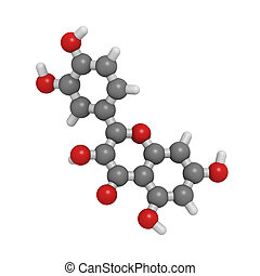 Quercetin flavonoid molecule, chemical structure - Chemical...