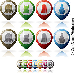 Womans Clothing theme icons set from left to right: Jacket,...