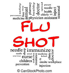 Flu Shot Word Cloud Concept in red and black - Flu Shot Word...