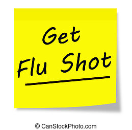 Get Flu Shot written on a yellow square sticky note pad