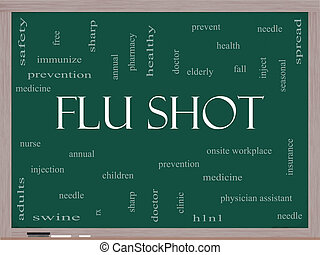 Flu Shot Word Cloud Concept on a Blackboard with great terms...