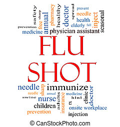 Flu Shot Word Cloud Concept with great terms such as rx,...