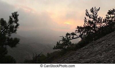 Timelapse sunrise in the mountains. Noviy Svet, Crimea,...