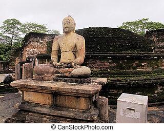 Meditating Buddha statue at Polonnaruwa, Sri Lanka....