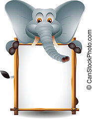cute elephant with blank sign - vector illustration of cute...